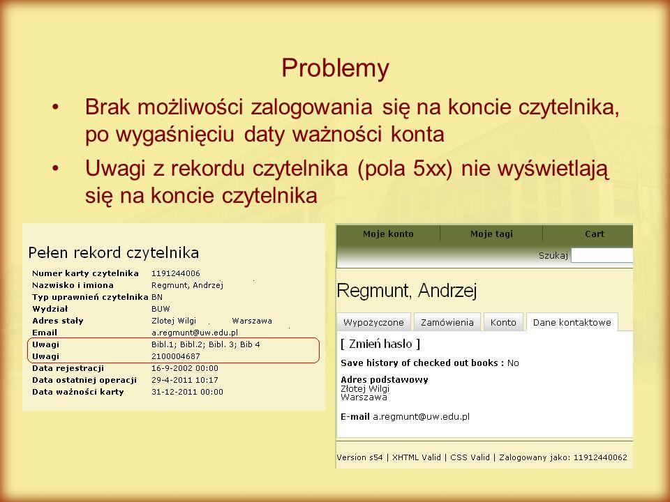 Problemy Brak możliwości zalogowania się na koncie czytelnika, po wygaśnięciu daty ważności konta.