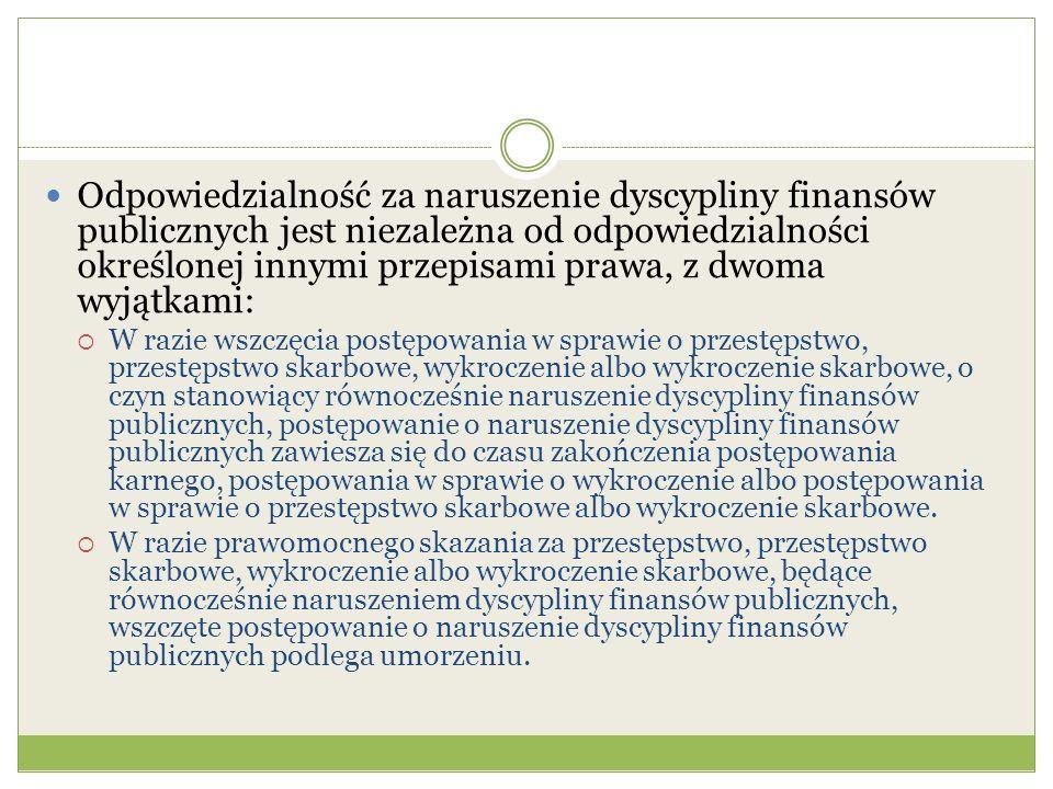 Odpowiedzialność za naruszenie dyscypliny finansów publicznych jest niezależna od odpowiedzialności określonej innymi przepisami prawa, z dwoma wyjątkami: