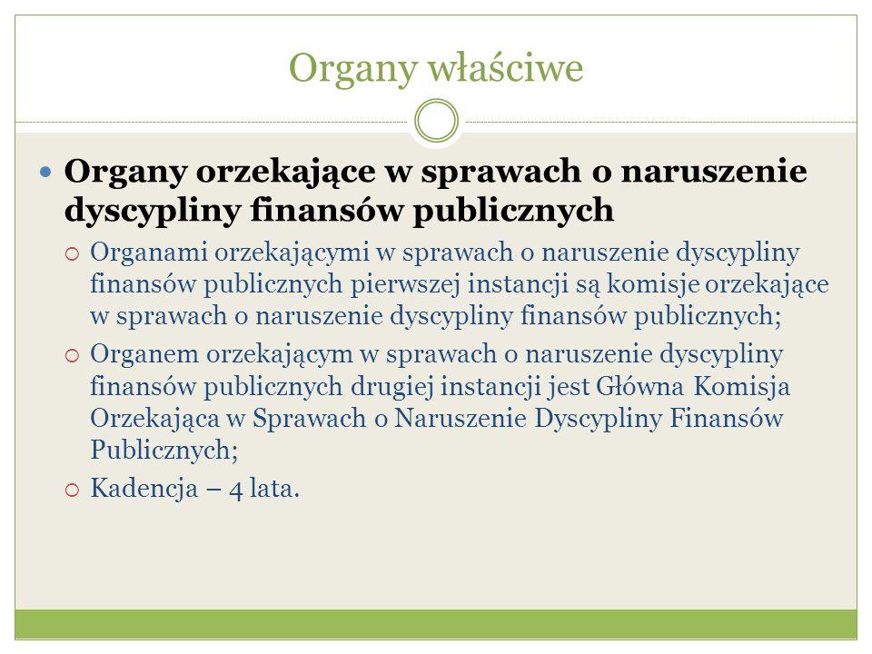 Organy właściwe Organy orzekające w sprawach o naruszenie dyscypliny finansów publicznych.
