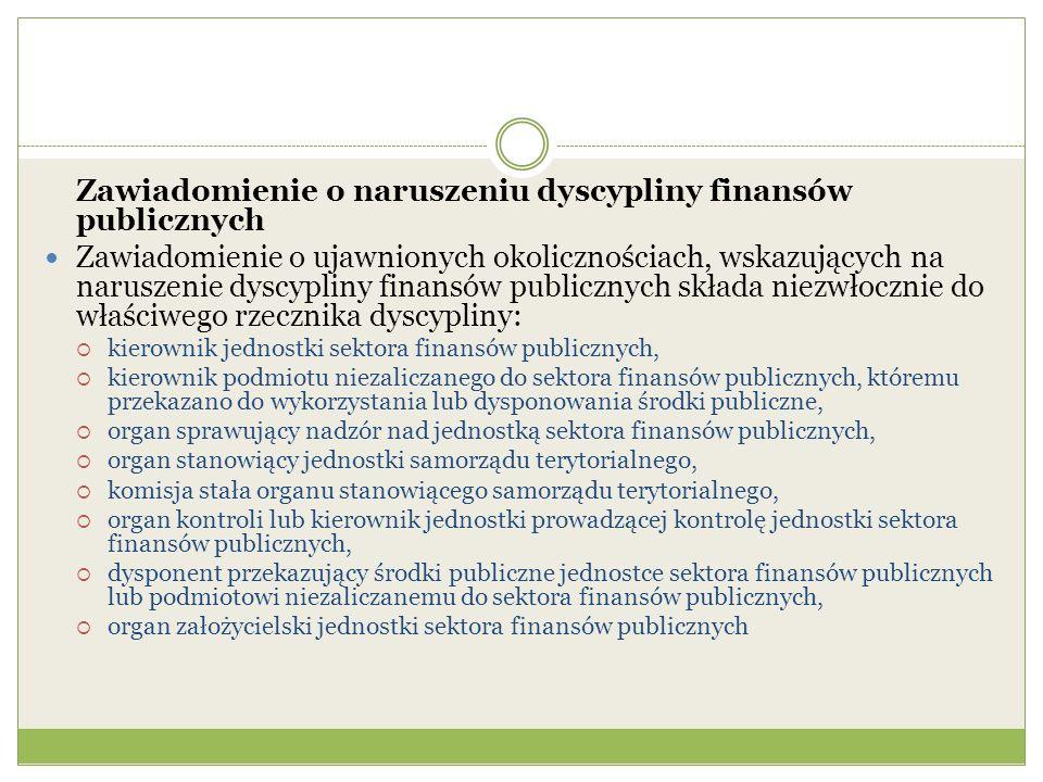 Zawiadomienie o naruszeniu dyscypliny finansów publicznych