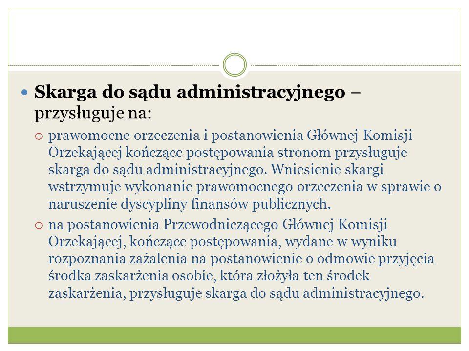 Skarga do sądu administracyjnego – przysługuje na: