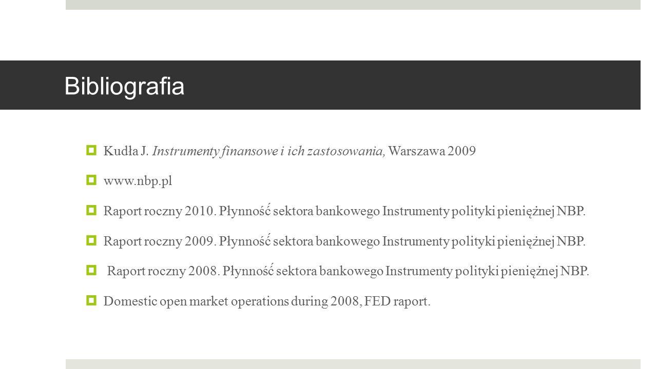 Bibliografia Kudła J. Instrumenty finansowe i ich zastosowania, Warszawa 2009. www.nbp.pl.