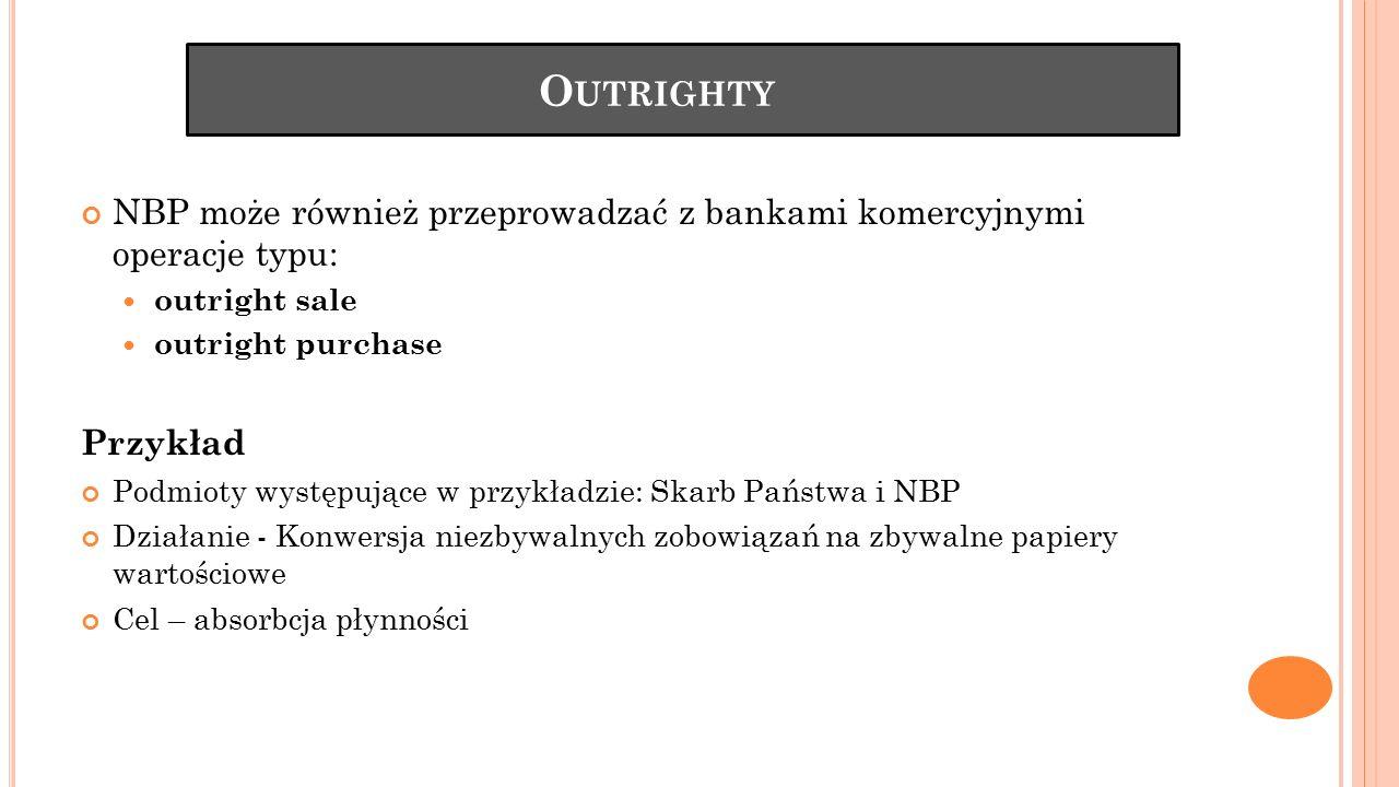 Outrighty NBP może również przeprowadzać z bankami komercyjnymi operacje typu: outright sale. outright purchase.
