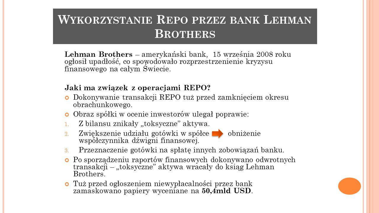 Wykorzystanie Repo przez bank Lehman Brothers