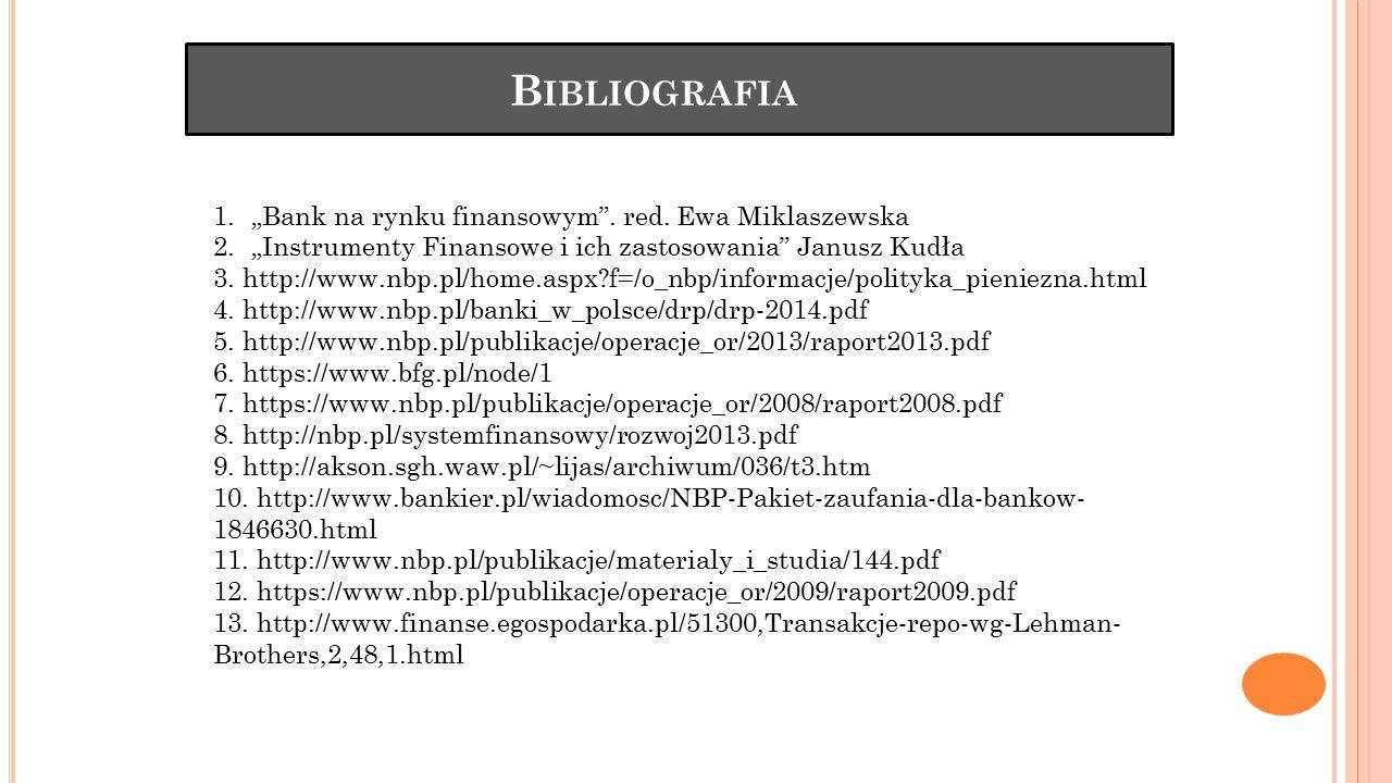 """Bibliografia """"Bank na rynku finansowym . red. Ewa Miklaszewska"""
