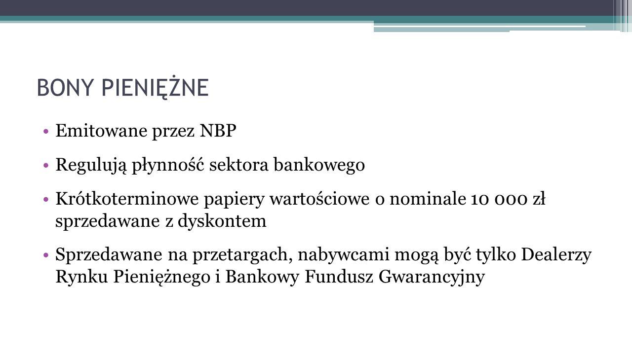 BONY PIENIĘŻNE Emitowane przez NBP Regulują płynność sektora bankowego