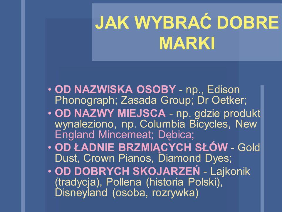 JAK WYBRAĆ DOBRE MARKI OD NAZWISKA OSOBY - np., Edison Phonograph; Zasada Group; Dr Oetker;