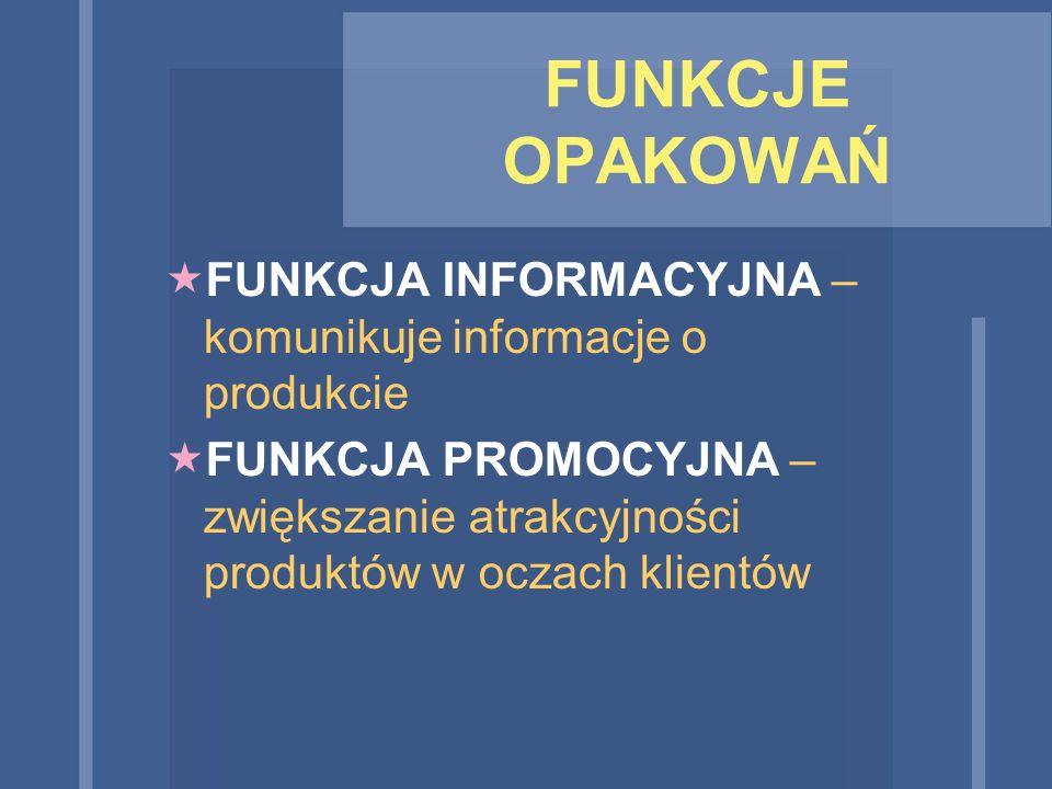 FUNKCJE OPAKOWAŃ FUNKCJA INFORMACYJNA – komunikuje informacje o produkcie.