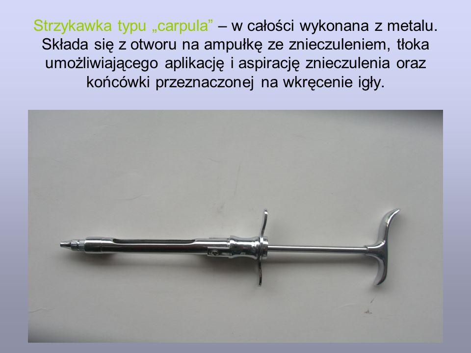 """Strzykawka typu """"carpula – w całości wykonana z metalu"""