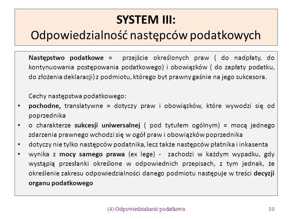 SYSTEM III: Odpowiedzialność następców podatkowych