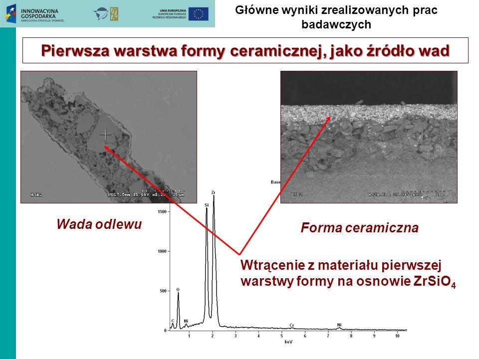 Pierwsza warstwa formy ceramicznej, jako źródło wad