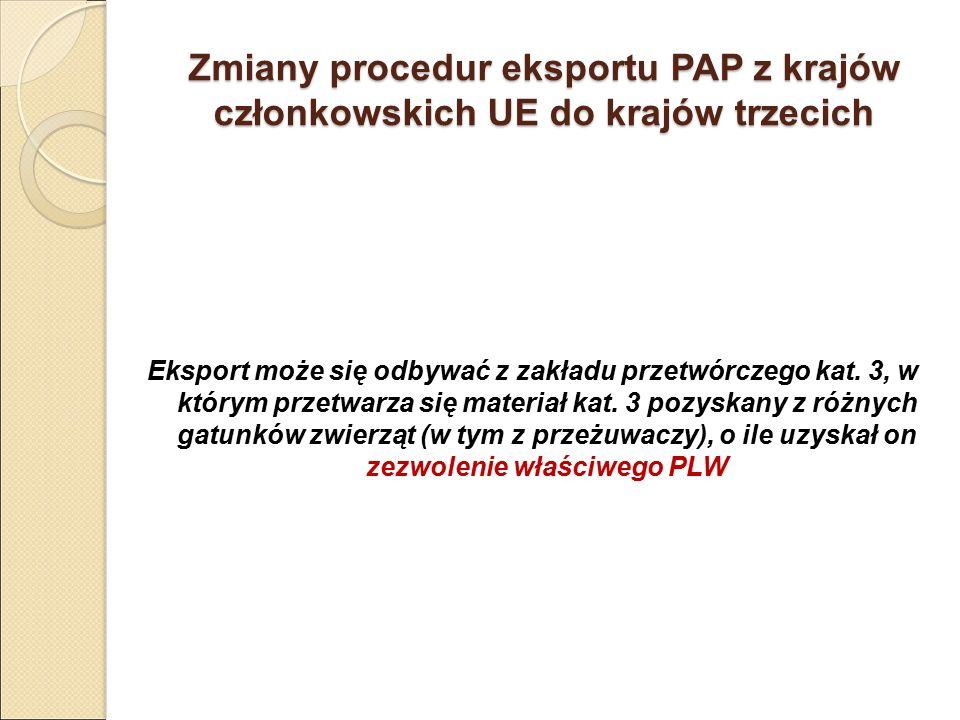 Zmiany procedur eksportu PAP z krajów członkowskich UE do krajów trzecich