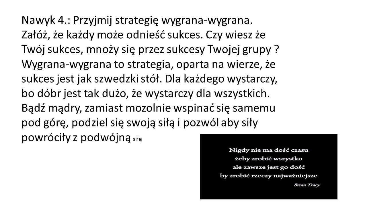 Nawyk 4.: Przyjmij strategię wygrana-wygrana.