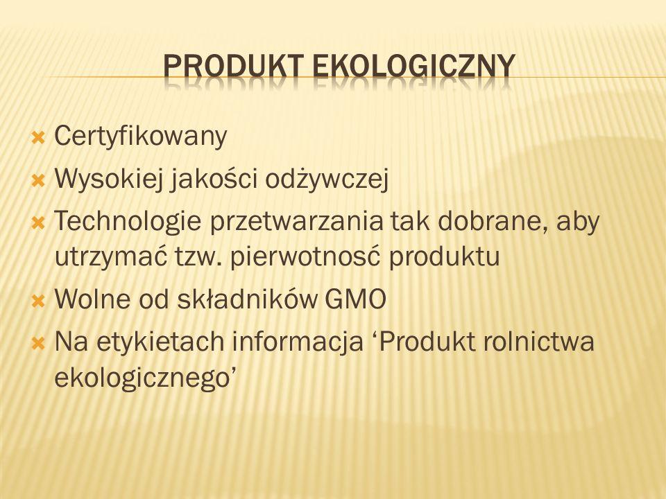Produkt ekologiczny Certyfikowany Wysokiej jakości odżywczej