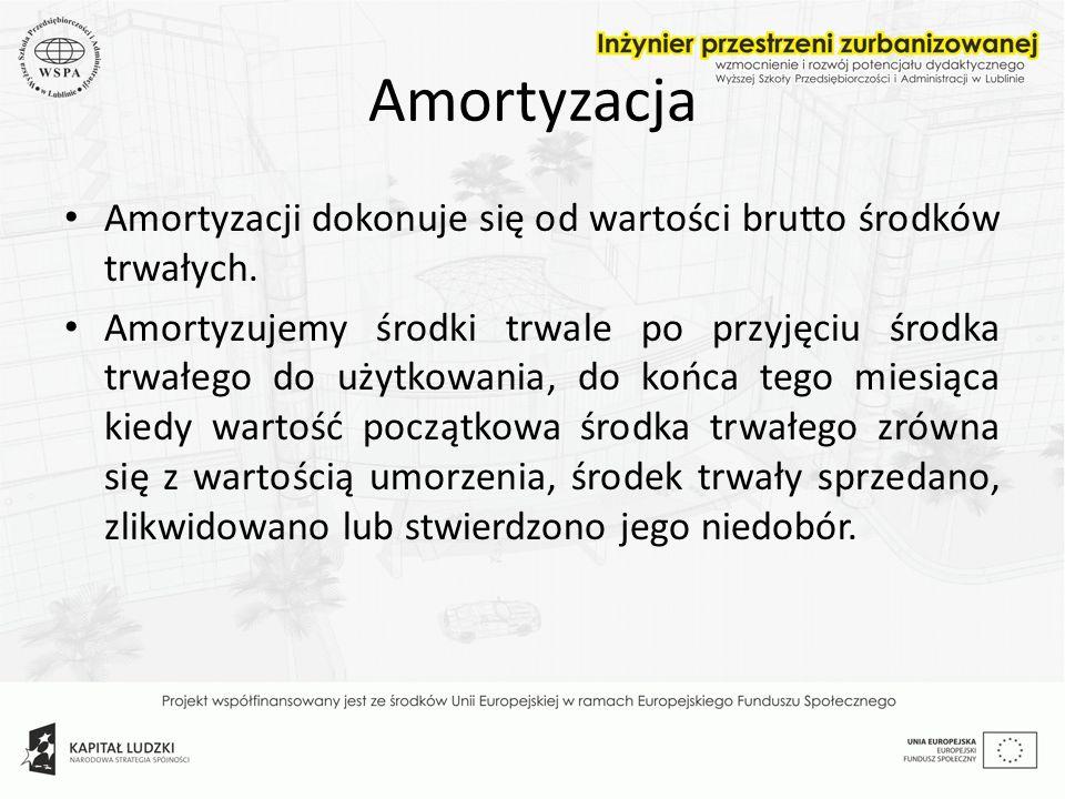 Amortyzacja Amortyzacji dokonuje się od wartości brutto środków trwałych.