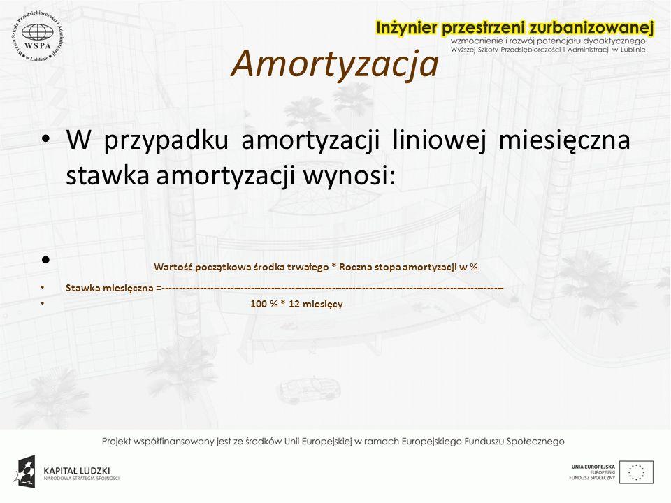 Amortyzacja W przypadku amortyzacji liniowej miesięczna stawka amortyzacji wynosi: Wartość początkowa środka trwałego * Roczna stopa amortyzacji w %