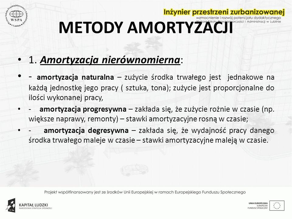 METODY AMORTYZACJI 1. Amortyzacja nierównomierna: