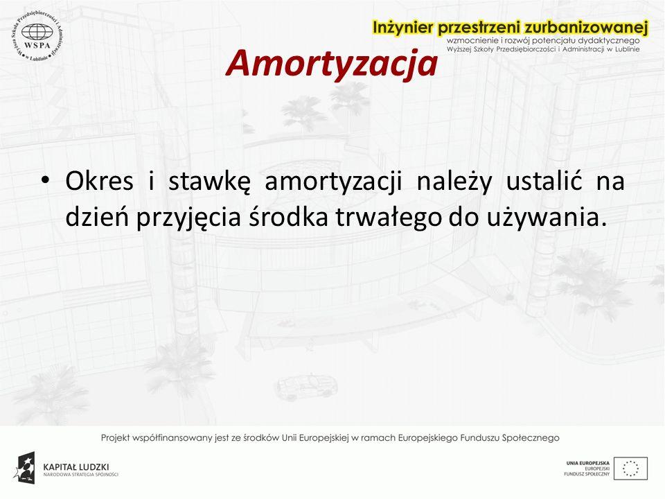 Amortyzacja Okres i stawkę amortyzacji należy ustalić na dzień przyjęcia środka trwałego do używania.