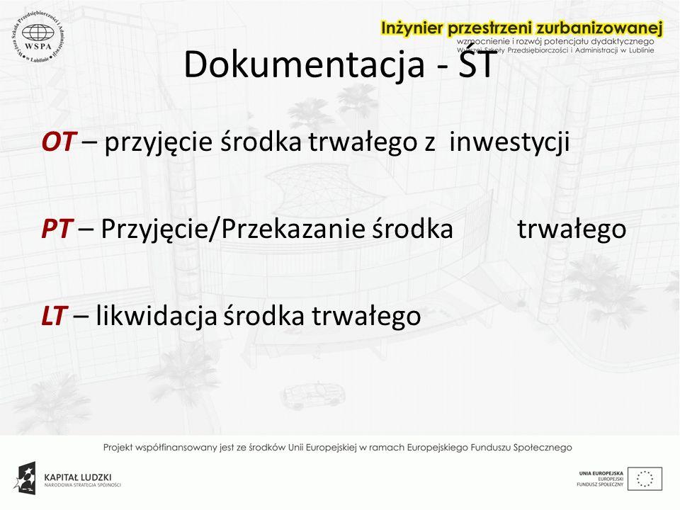 Dokumentacja - ŚT OT – przyjęcie środka trwałego z inwestycji