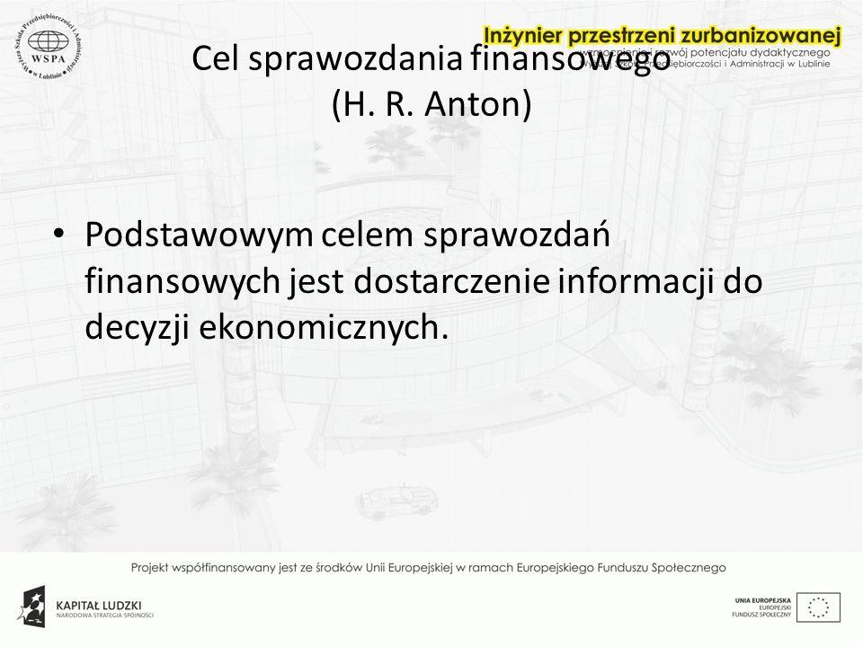 Cel sprawozdania finansowego (H. R. Anton)