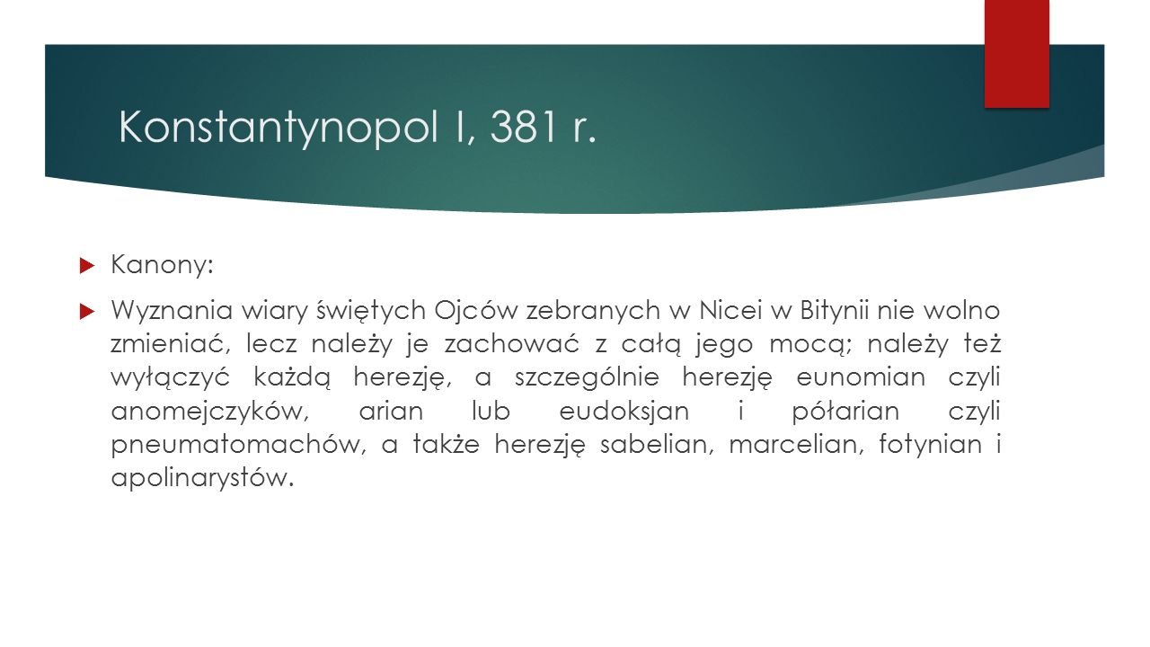 Konstantynopol I, 381 r. Kanony: