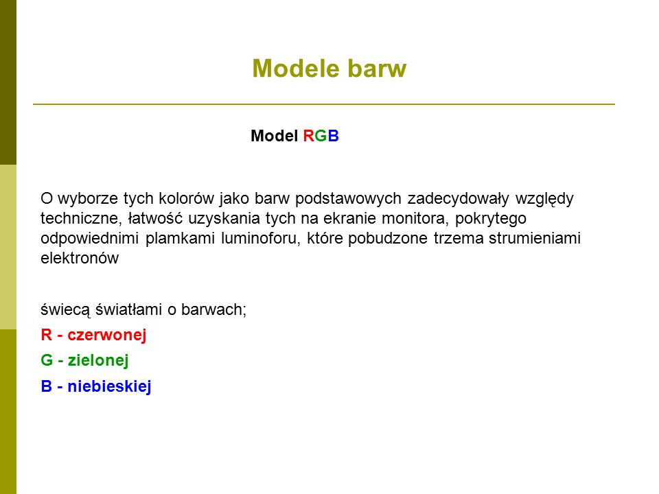 Modele barw Model RGB.