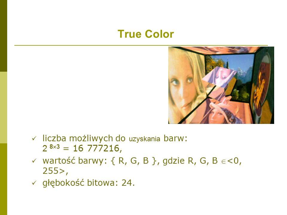 True Color liczba możliwych do uzyskania barw: 2 83 = 16 777216,