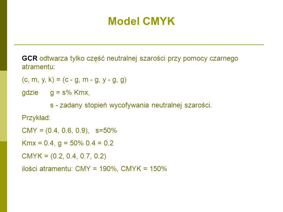 Model CMYK GCR odtwarza tylko część neutralnej szarości przy pomocy czarnego atramentu: (c, m, y, k) = (c - g, m - g, y - g, g)