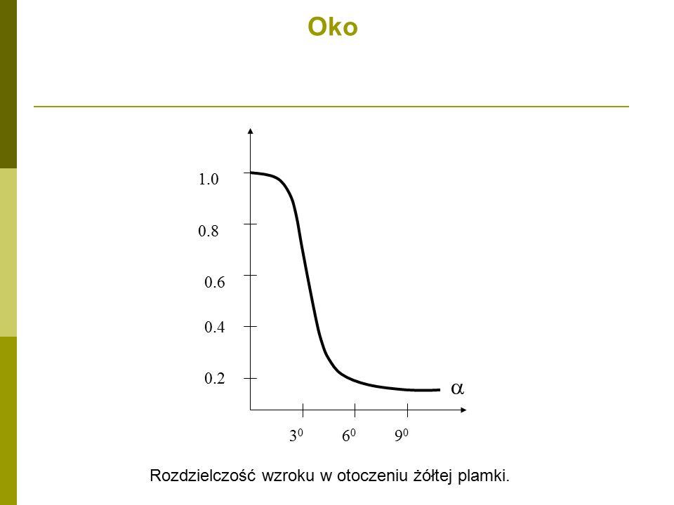 Oko 1.0 0.8 0.4 0.6 0.2 30 60 90 a Rozdzielczość wzroku w otoczeniu żółtej plamki.