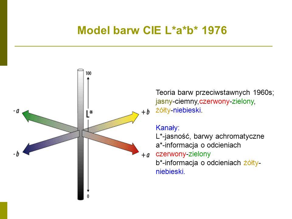 Model barw CIE L*a*b* 1976 Teoria barw przeciwstawnych 1960s;