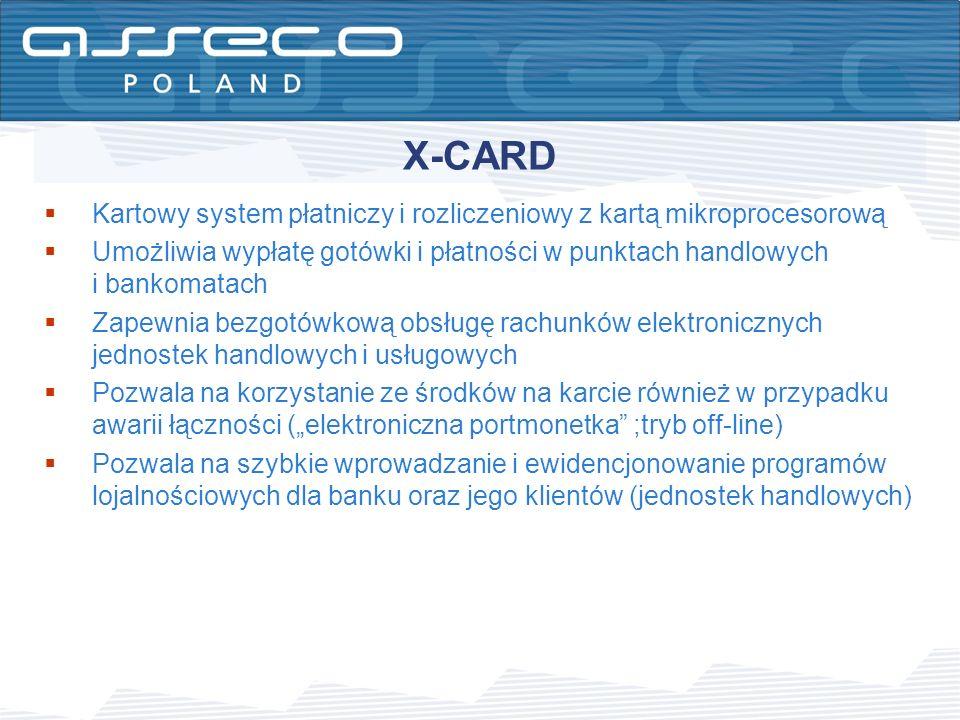 X-CARD Kartowy system płatniczy i rozliczeniowy z kartą mikroprocesorową. Umożliwia wypłatę gotówki i płatności w punktach handlowych i bankomatach.