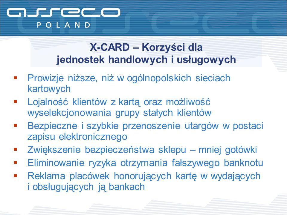 X-CARD – Korzyści dla jednostek handlowych i usługowych