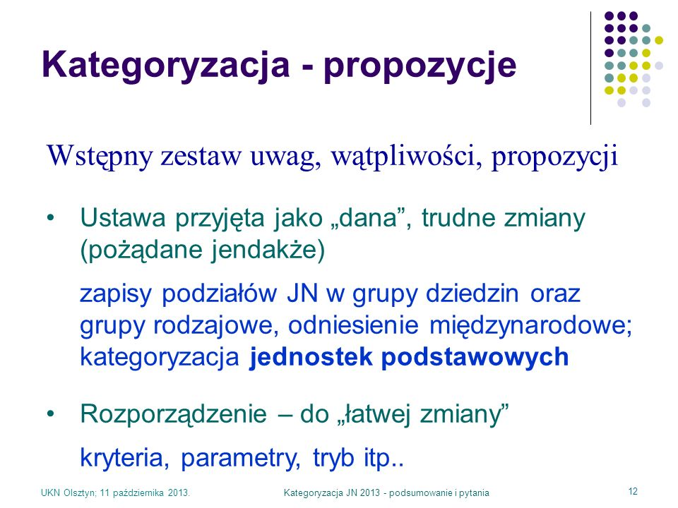 Kategoryzacja - propozycje