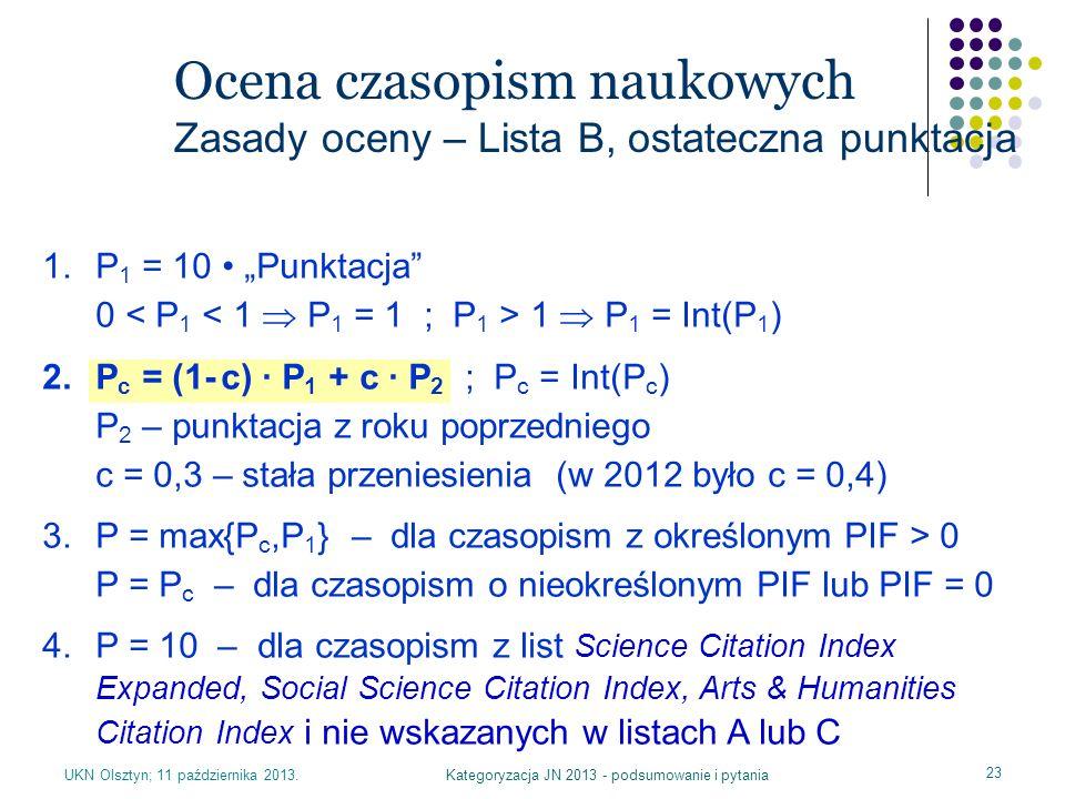 Kategoryzacja JN 2013 - podsumowanie i pytania