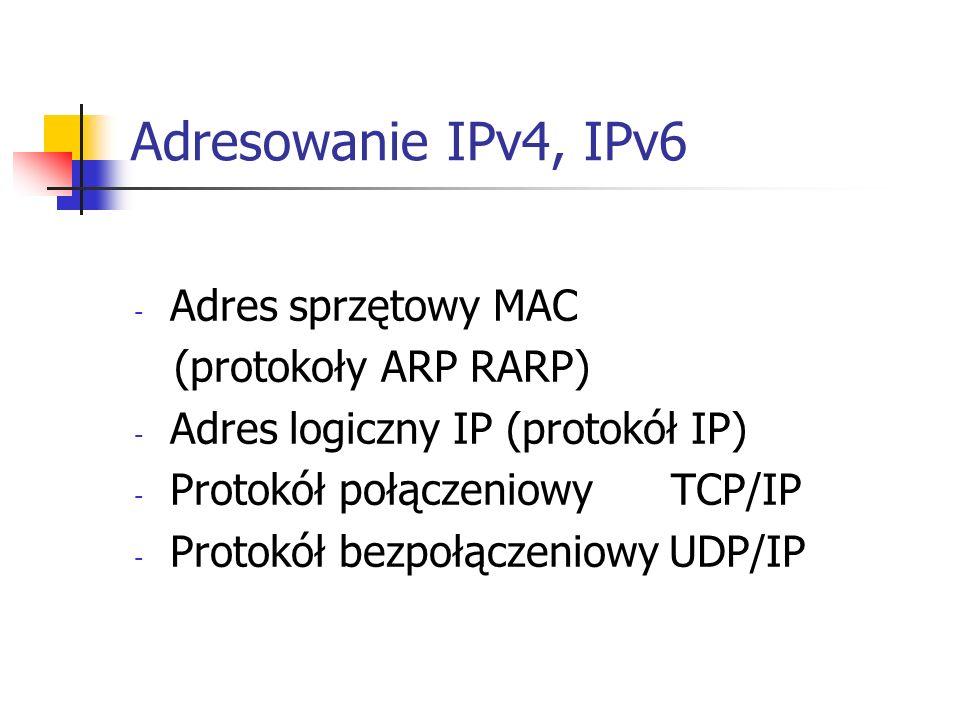 Adresowanie IPv4, IPv6 Adres sprzętowy MAC (protokoły ARP RARP)