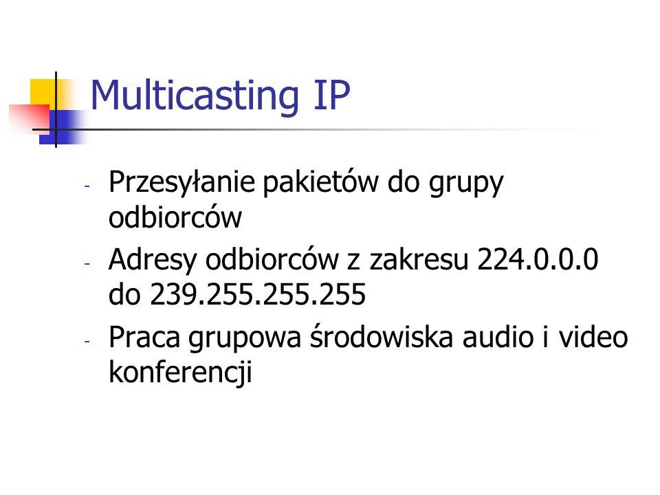 Multicasting IP Przesyłanie pakietów do grupy odbiorców