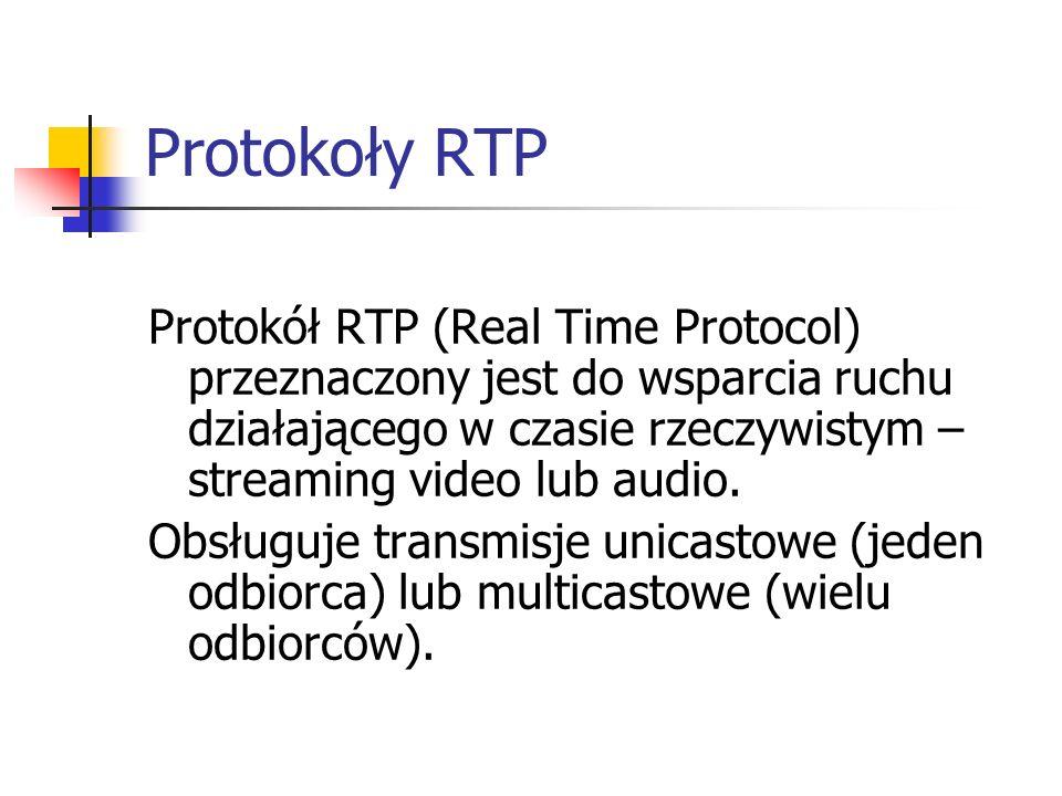 Protokoły RTP Protokół RTP (Real Time Protocol) przeznaczony jest do wsparcia ruchu działającego w czasie rzeczywistym – streaming video lub audio.