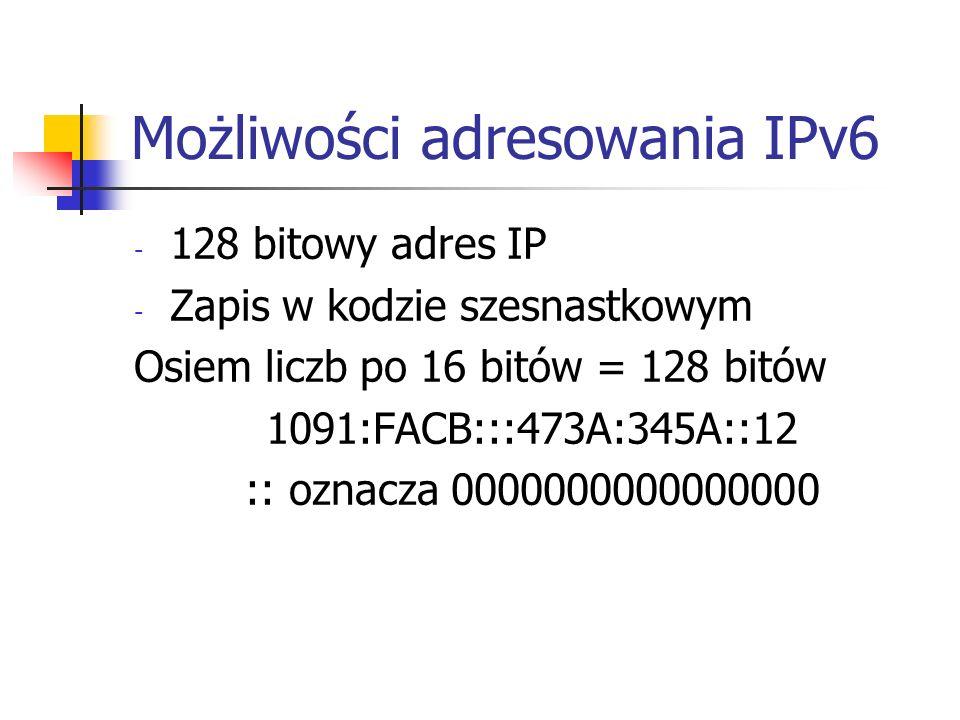 Możliwości adresowania IPv6