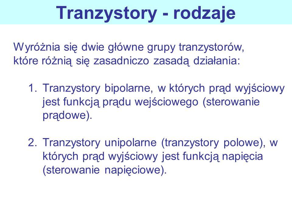 Tranzystory - rodzaje Wyróżnia się dwie główne grupy tranzystorów,
