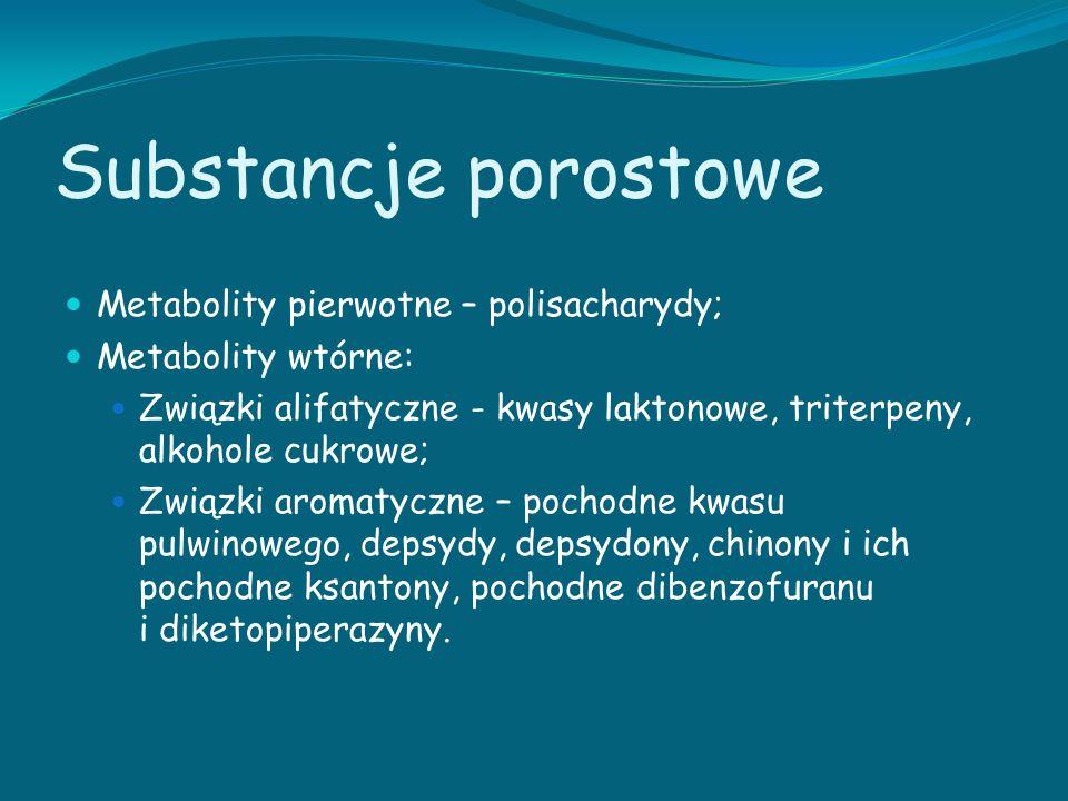 Substancje porostowe Metabolity pierwotne – polisacharydy;