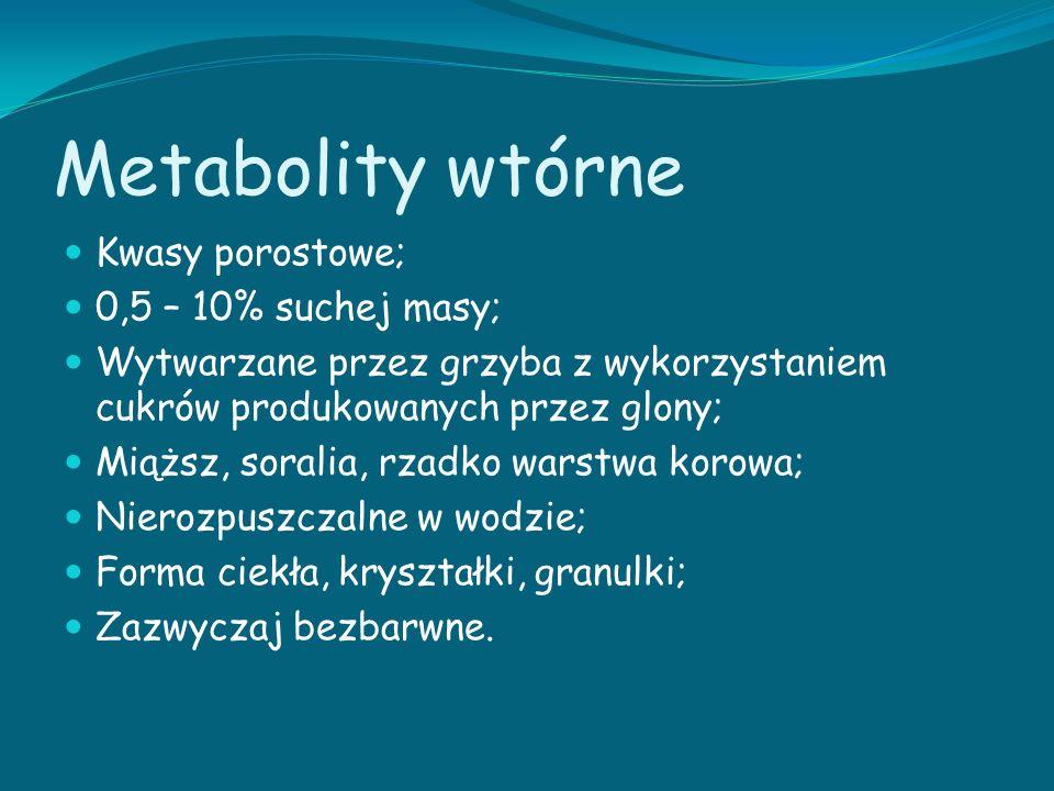 Metabolity wtórne Kwasy porostowe; 0,5 – 10% suchej masy;