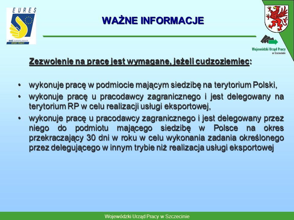 WAŻNE INFORMACJE Zezwolenie na pracę jest wymagane, jeżeli cudzoziemiec: wykonuje pracę w podmiocie mającym siedzibę na terytorium Polski,