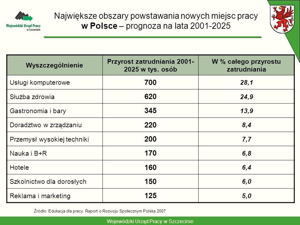 Największe obszary powstawania nowych miejsc pracy w Polsce – prognoza na lata 2001-2025