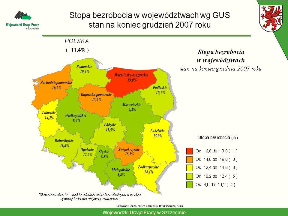 Stopa bezrobocia w województwach wg GUS stan na koniec grudzień 2007 roku