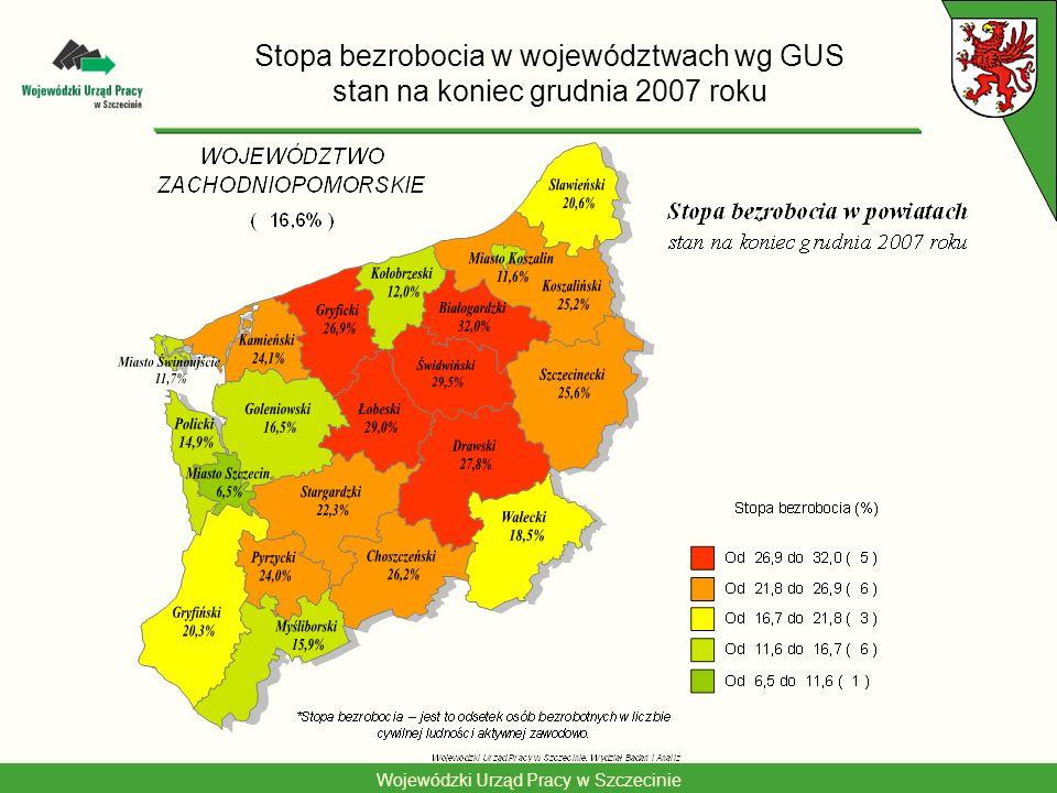 Stopa bezrobocia w województwach wg GUS stan na koniec grudnia 2007 roku