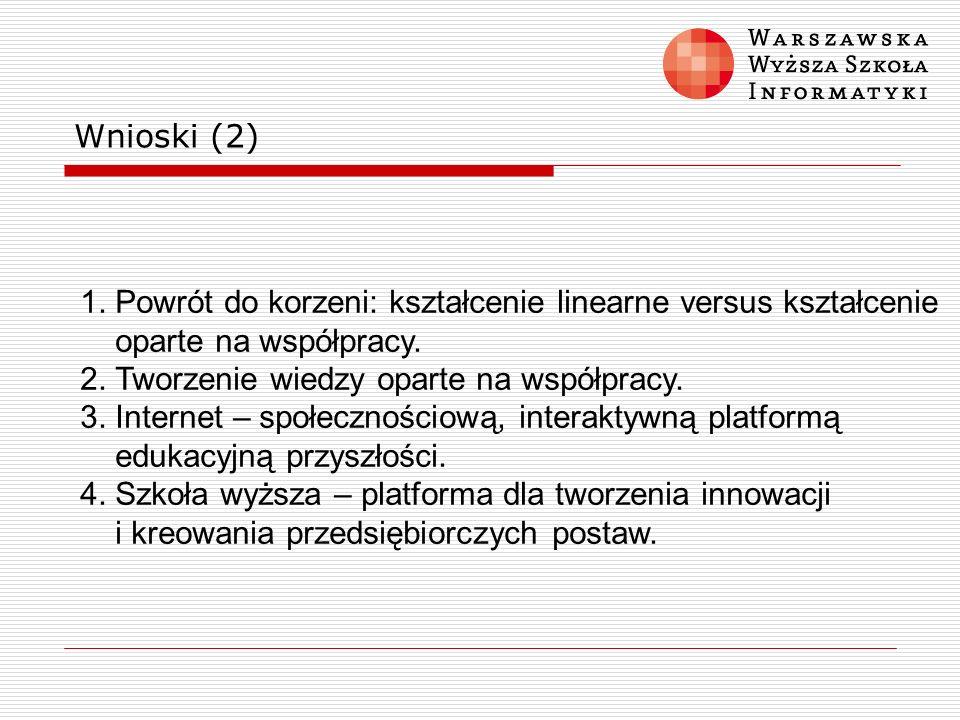 Wnioski (2) 1. Powrót do korzeni: kształcenie linearne versus kształcenie. oparte na współpracy. 2. Tworzenie wiedzy oparte na współpracy.