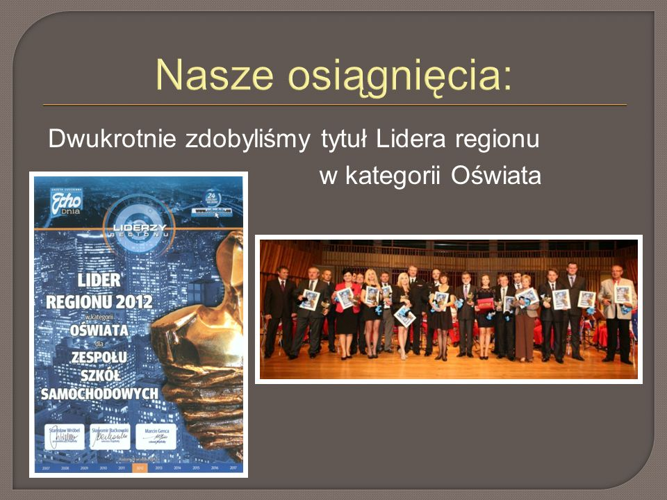 Nasze osiągnięcia: Dwukrotnie zdobyliśmy tytuł Lidera regionu