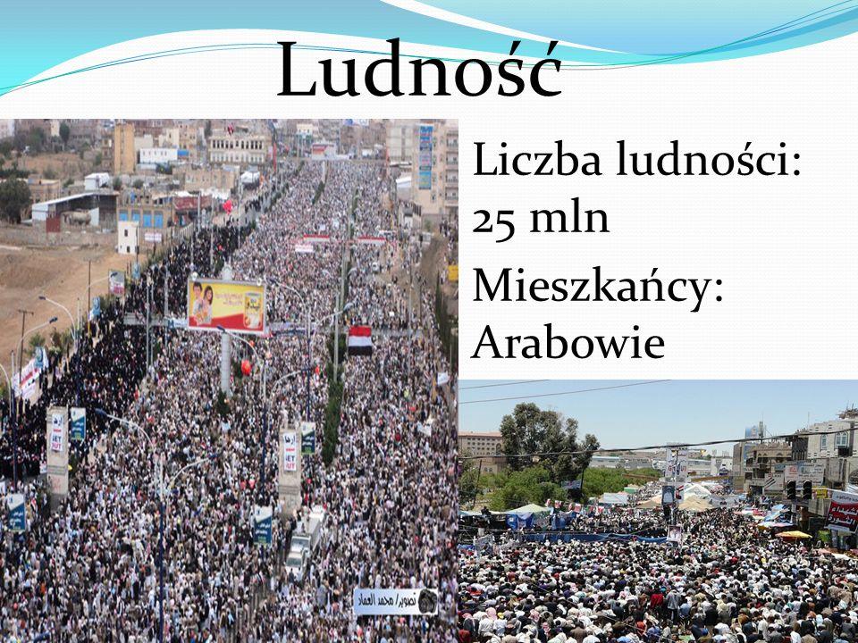 Ludność Liczba ludności: 25 mln Mieszkańcy: Arabowie