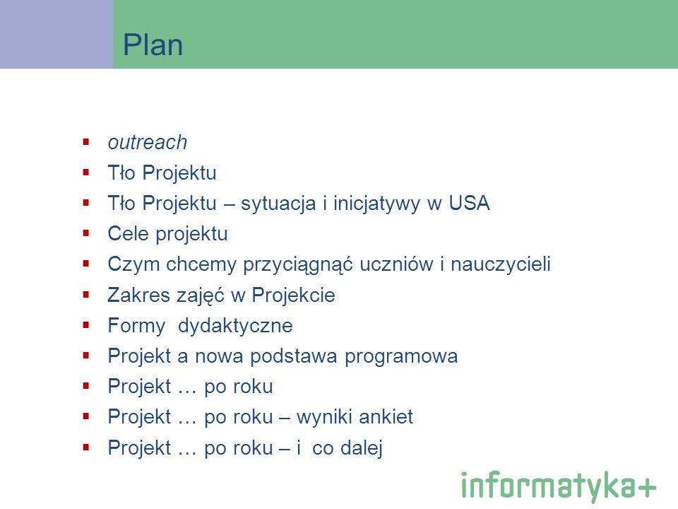 Plan outreach Tło Projektu Tło Projektu – sytuacja i inicjatywy w USA