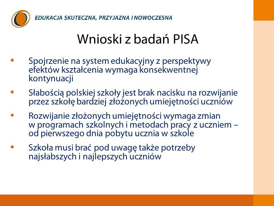 Wnioski z badań PISA Spojrzenie na system edukacyjny z perspektywy efektów kształcenia wymaga konsekwentnej kontynuacji.